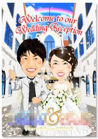 結婚式場背景のオリジナル似顔絵ウェルカムボード