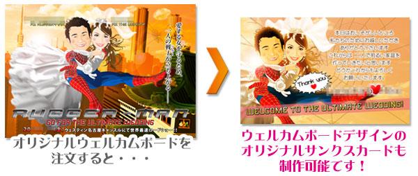 人気のオリジナル似顔絵ウェルカムボードとオリジナル似顔絵サンクスカード制作例