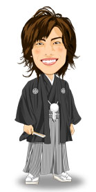 紋付き袴:黒羽織縞袴